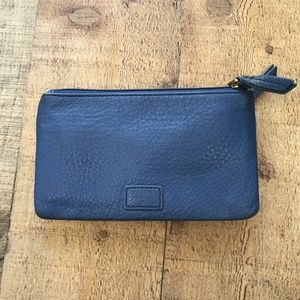 Fossil Blue Leather Wallet EUC